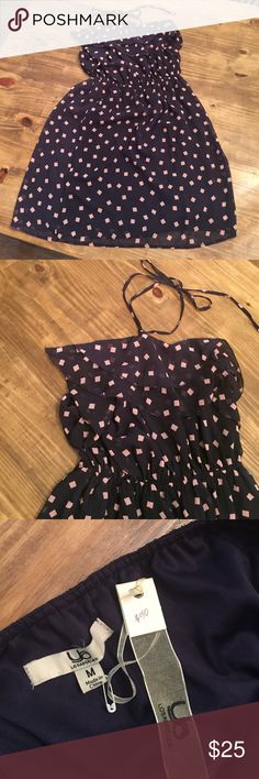 *NWT* Patterned Chiffon Dress This halter tie chiffon overlay dress is light and flowy. It is navy with light pink squares. Could be paired with nude shoes and a jean jacket to carry you into fall. New with tags! Ya Los Angeles Dresses Midi
