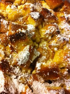 oven baked cream cheese french toast souffle (refrigerate the night before then 45 mins. in the oven the next day.