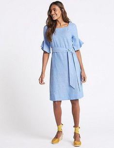 Linen Blend Half Sleeve Tunic Dress | Marks & Spencer London