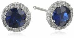 Sterling Silver Gemstone and Created White Sapphire Halo Studs (1.45 cttw)