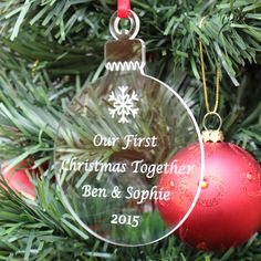 Unusual personalised gift for any new couple Perfect to show how much you love them this Christmas Attractively engraved quality clear acrylic - precision laser cut Also includes your choice of engraved Christmas icon FREE 1st class postage (UK only)