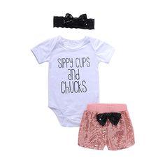3PCS Waymine Toddler Girls Dot Doll Neck Ruffle Tops+Lace Shorts Hair Band Set