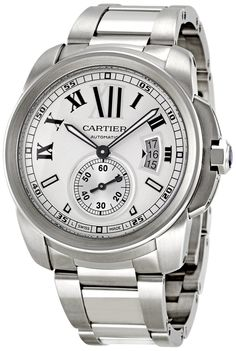 Cartier Men's W7100015 Calibre de Cartier Silver Opaline Dial Watch: Watches: https://www.rebelmouse.com/bestluxurywatch