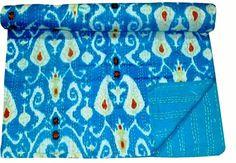 TWIN SIZE KANTHA QUILT BLANKET REVERSIBLE HANDMADE INDIAN BEDSPREAD THROW RALLI #Handicraft #Traditional