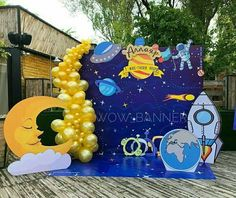 2nd Birthday Party Themes, Baby 1st Birthday, Boy Birthday Parties, Space Jam, Astronaut Party, Space Party, Birthday Party Decorations, Birthdays, Moon