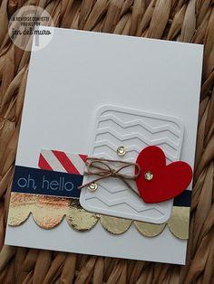 Card by Jen del Muro for 2014 AUGUST COLOR CHALLENGE | Reverse Confetti stamp set: Arrows 'n Elements. Confetti Cuts: Pretty Panels Chevron, Love Note, Class Act & Double Edge Scallop. Friendship card. Encouragement card.