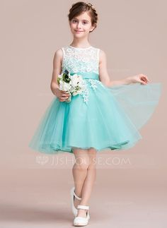 [US$ 62.99] A-Line/Princess Knee-length Flower Girl Dress - Tulle/Lace Sleeveless Scoop Neck With Sash/V Back (010106123)