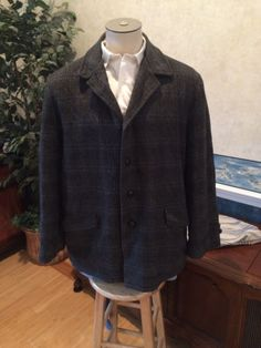 VTG Navy Plaid Wool Mens Jacket 1960s Car Coat size 46 48 in Clothing, Shoes & Accessories, Vintage, Men's Vintage Clothing, 1947-64 (Post WWII-Early 60s), Coats, Jackets, Sweaters | eBay
