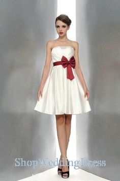 white+bridesmaid+dresses | Bowknot Strapless A Line Satin White Bridesmaid Dresses