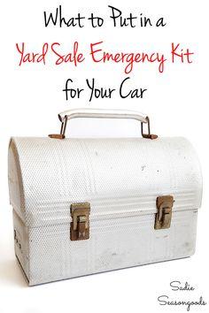 car emergency kit list for garage saling Metal Lunch Box, Trash To Treasure, First Aid Kit, Yard Sale, Diy Organization, Household Tips, Vintage Metal, Tool Kit, Vintage Decor