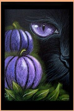 """Black Cat - Halloween"" par Cyra R. Art Halloween, Halloween Rocks, Halloween Painting, Halloween Drawings, Halloween Pumpkins, Halloween Canvas Paintings, Autumn Painting, Tole Painting, Chalk Art"
