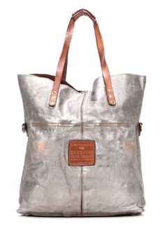 Campomaggi Lavata Shopper Leder silber 45 cm - C1340BISLAVL-7018 - Designer Taschen Shop - wardow.com