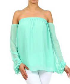 Loving this Mint Off-Shoulder Top on #zulily! #zulilyfinds