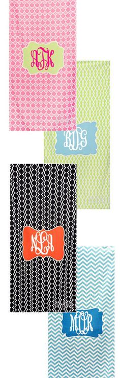 Monogrammed Pattern Beach Towel from Marleylilly.com #pool #beach