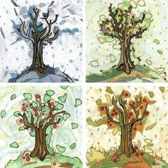 Items similar to Four Seasons Art - Four Seasons of Trees - Set of four apple tree inspired fine art prints on Etsy Four Seasons Art, Arches Watercolor Paper, Art Auction, Tree Art, Greeting Cards Handmade, Painting Inspiration, Art Lessons, Fine Art Prints, Original Paintings