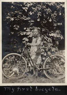 My first bicycle (cat in the spokes?). [c. 1910]