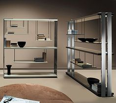 Cool suspended shelves in the Expo Bookcase designed by Umberto Asnago and available through Resource Furniture.