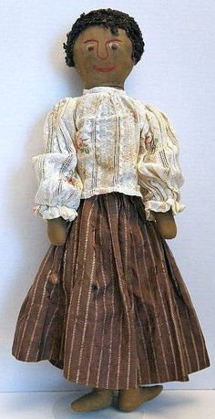 Antique cloth doll with embroidered face and curly wool hair- 22 Inches - 1880.