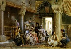 Carl Werner - In The Cafe 1871 interior of the Arabian cafe in Egypt,  an Arabian men's wear, east architecture, a hookah Watercolor on Paper