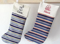 Decorate your home , boat or beach house this Christmas with these adorable nautical stocking.