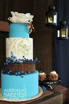 Indian Weddings Inspirations. Blue Wedding Cake. http://www.shopcost.in/wedding+cake
