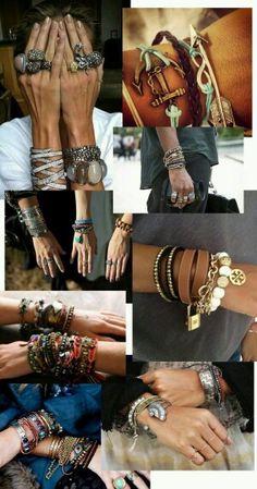 Home and Delicious: tíska: armbönd og nóg af þeim Gypsy Style, Boho Gypsy, Bohemian Style, Hippie Boho, Boho Chic, My Style, Jewelry Trends, Boho Jewelry, Jewelry Accessories