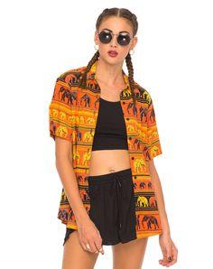 Adeline Short Sleeve Shirt in Elephant Parade Orange By Motel