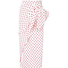 Bambah polka dot ruched skirt ($551) ❤ liked on Polyvore featuring skirts, bottoms, white, white knee length skirt, shirred skirt, white ruched skirt, white skirt and polka dot skirts