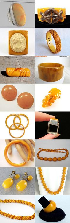 Yummy Butterscotch. Good enough to eat delicious butterscotch treats from the shops of the Vintage Vogue Team Curator: Cherie from https://www.etsy.com/shop/ElegantArtifacts #Etsy #Treasury #Bakelite #Jewelry  #Amber #Butterscotch #Yellow #Orange #Vintage