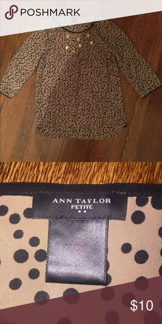 Ann Taylor Black and Brown polka dot blouse. Brown and black. Little tight on the shoulders. Ann Taylor no trades. Petite Ann Taylor Tops Blouses