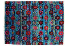 "Kashanian 8'1""x10'10"" Sari Silk Ikat Rug, Aqua on OneKingsLane.com"