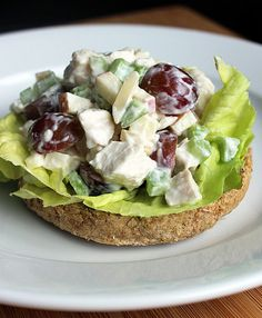 Traditional chicken salad clocks in at 500 calories, but this healthy chicken salad is 139 calories per serving. The secret? A simple swap of Greek yogurt for mayo. Serve with one or two slices of bread (like wheat bread, 220 calories for two slices). Calories (with two slices of wheat bread): 359 Source: Lizzie Fuhr