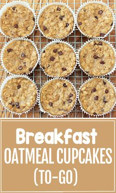 Super Healthy Breakfast Oatmeal Cupcakes To Go! Super Healthy Breakfast Oatmeal Cupcakes To Go! How to make portable healthy breakfast oat cups that can be customized for different flavors including chocolate chip or coconut Healthy Breakfast Meal Prep, Healthy Breakfast Casserole, Recipes With Oatmeal Breakfast, Breakfast Ideas, Oatmeal Breakfast Bars Healthy, Oatmeal Cupcakes, Breakfast Cupcakes, Muffins Sains, Recipes