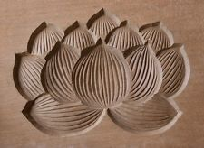 JAPANESE ANTIQUE KASHIGATA Lotus Flower with Cover Hand Carved Wooden Cake Mold