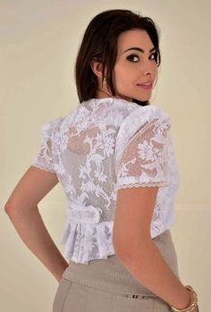 """I love boleros and shrugs. I find they are very versatile. I wear them with sleeveless tops in order to make them """"work appropriate. Nyc Dresses, Fashion Dresses, Lace Bolero, Bolero Jacket, Girls Dresses Size 8, Sleeves Designs For Dresses, Blazer Pattern, Sexy Blouse, Victorian Fashion"""