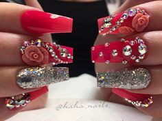Bling bling ❤️ pink glow in the dark from @glamandglitsnails silver glitter is from @glitter_heaven_australia #hahanails #3droses #swarovskicrystals #nails #nailart #coffinnails #pinknails #nailitdaily #nailsmagazine #nailprodigy #uglyducklingnails #hairandnailfashion #vegasnails #hotpink #glownails #ombre #coralnails #nailartist #nailswag #nailporn #nailgame #glitternails #hudabeauty #nailfashion