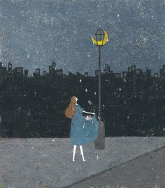 Illustration by Akira Kusaka Illustrations, Children's Book Illustration, Akira, Chef D Oeuvre, Soul Art, Art Graphique, Naive, Stars And Moon, Cute Art