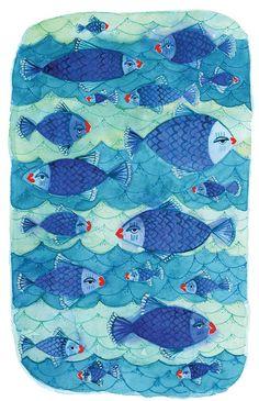 Watercolor Fish Print Blue Watercolour Art by KlikaBoutique