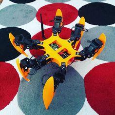 New body is complete! #hexapod #robot #servo #electronic #diy #3dprinting #dynamixel #arduino #arbotixm #raspberrypi2 #raspberrypi by andyandy26