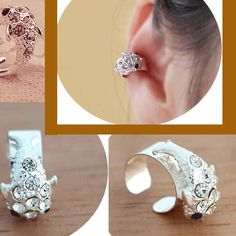 Hugging Fish Rhinestone Ear Cuff (Single, Adjustable, No Piercing) | LilyFair Jewelry, $10.99!