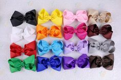 """Lot Hairclip 16pcs 4"""" Girl  Baby  toddler child  solid  Boutique Hair Bows Clips #miniangel"""