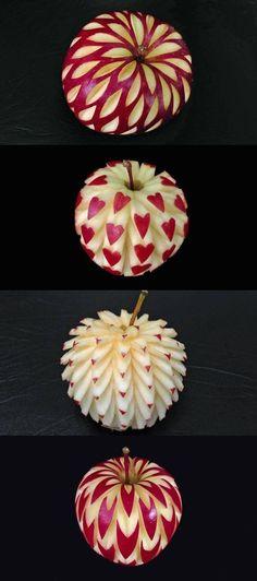 Quand la nourriture devient un art. On ose plus manger cette pomme, tellement c'est beau. Sculptures à partir d'un fruit.