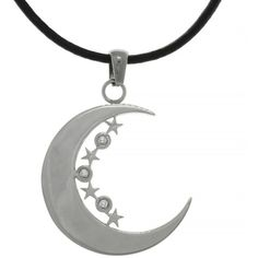 Carolina Glamour Collection Stainless Steel Crescent Moon and Stars... (22 CAD) ❤ liked on Polyvore featuring jewelry, necklaces, accessories, stainless steel, round pendant, star pendant, cubic zirconia necklaces, stone pendant necklace and star necklace
