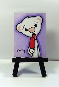 Ferret Popsicle ACEO Art Print from Original Painting - Shelly Mundel #FerretArt