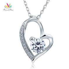 Peacock Star Solid 925 Sterling Silver Wedding Heart Pendant Necklace Created Diamond Bridesmaid Jewelry CFN8033