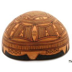 Africa | Decorated calabash vessel from the Fulani/Peul people of the Tahoua region of Niger. | 20th century
