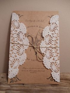 These could be simply made with some paper doilies and bakers twine. Add some textured cardstock and make your own invites.