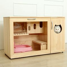 WHAT'S HOT: Incredible Cat Litter Furniture by Catwheel - You probably didn't realise you needed a cat cabinet until you saw this! Amazing cat furniture by - Wooden Cat House, Cat House Diy, Cat Toilet, Fancy Cats, Cat Enclosure, Cat Room, Outdoor Cats, Pet Furniture, Litter Box
