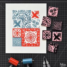 Enjoying a creative morning of carving small block tile designs and oh so carefully printing them in repeat! Tons of fun!