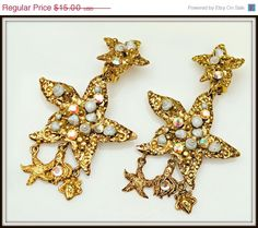 Vintage Chunky Gold Star fish and Shell  by serendipitytreasure, $13.50